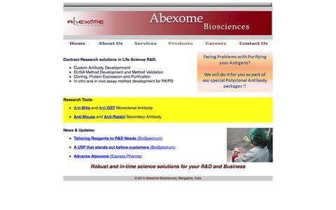 Screenshot of Home Page abexome.com - Welcome to Abexome Biosciences - captured Oct. 4, 2014