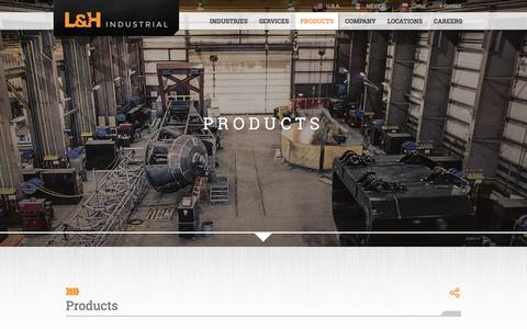 Screenshot of Products Page lnh.net - Products | L&H Industrial - captured Sept. 25, 2018