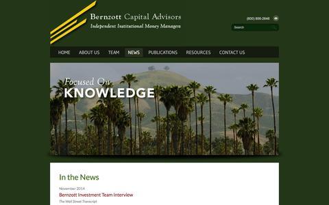 Screenshot of Press Page bernzott.com - News - Bernzott Capital Advisors, Inc. - captured Feb. 7, 2016
