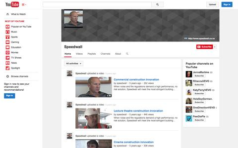 Screenshot of YouTube Page youtube.com - Speedwall  - YouTube - captured Nov. 4, 2014