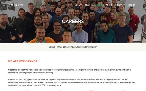 Screenshot of Jobs Page foodpanda.com - Careers • Food Delivery | Order Food Online | foodpanda - captured July 21, 2017