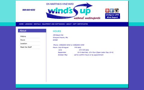 Screenshot of Hours Page windsupmv.com - Paddle Board Lessons on Martha's Vineyard | Wind's Up - captured July 3, 2018