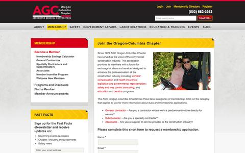 Screenshot of Signup Page agc-oregon.org - Become a Member | Workers Compensation Oregon | Safety and Health Training | Associated General Contractors - captured Oct. 4, 2014