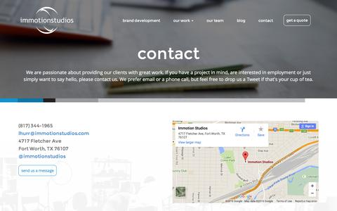 Screenshot of Contact Page immotionstudios.com - contact - Immotion Studios - captured Jan. 8, 2016