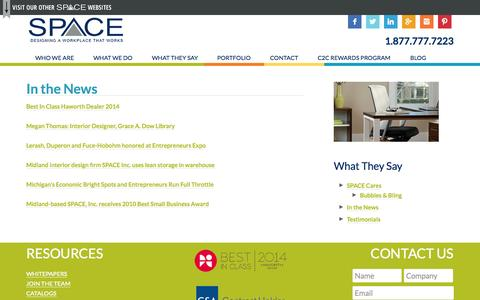 Screenshot of Press Page spaceinc.net - : SPACE, Inc. in the news   SpaceInc. - captured Sept. 30, 2014