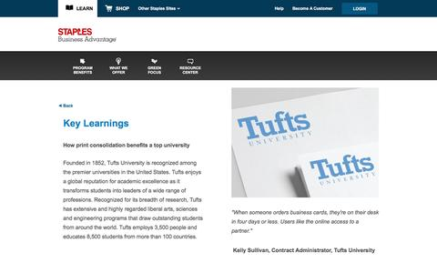 Screenshot of Landing Page staplesadvantage.com - Tufts University Case Study - captured April 6, 2016
