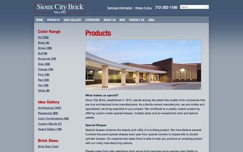 Screenshot of Products Page siouxcitybrick.com - Products | Sioux City Brick - captured June 13, 2017