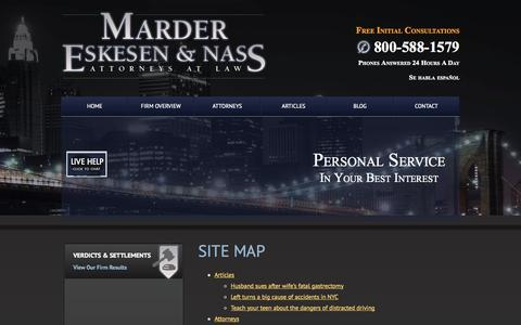 Screenshot of Site Map Page men-law.com - Site Map   Marder, Eskesen & Nass, Attorneys at Law   New York, New York - captured Oct. 27, 2014