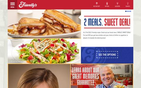 Screenshot of Home Page Menu Page friendlys.com - Home | Friendly's - captured Sept. 24, 2014