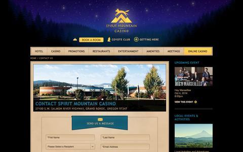 Screenshot of Contact Page spiritmountain.com - Contact Us | Spirit Mountain Casino in Oregon - captured Sept. 23, 2014