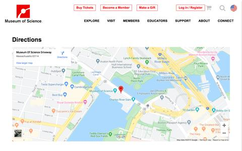 Screenshot of Maps & Directions Page mos.org - Directions | Museum of Science, Boston - captured Nov. 21, 2019