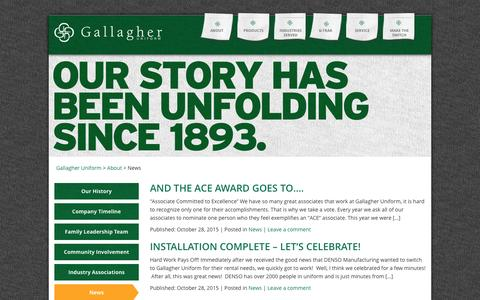 Screenshot of Press Page gallagheruniform.com - Recent news and announcements from Gallagher Uniform - captured Dec. 7, 2015