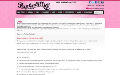 Screenshot of Jobs Page punkabillyclothing.com - Jobs offer related to Pin Up modeling and content writing - captured Sept. 19, 2014