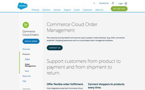 Screenshot of salesforce.com - Order Management Software System from Commerce Cloud - Salesforce.com - Salesforce.com - captured Aug. 31, 2017