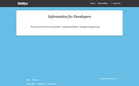 Screenshot of Developers Page intellijoy.com - Developers | Intellijoy - captured Sept. 30, 2014