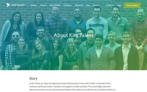 Screenshot of About Page kiratalent.com - About Kira Talent | Video Admissions Platform - captured Nov. 2, 2016