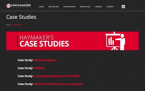 Screenshot of Case Studies Page haymakertech.com - Case Studies  |  Haymaker Technologies, Inc. - captured Jan. 27, 2016