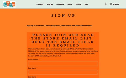 Screenshot of Signup Page bigcartel.com - The Shag stores — Sign Up - captured July 2, 2018