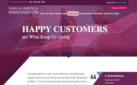 Screenshot of Testimonials Page familiaamerica.com - Our Client Testimonials and Happy Customers - Familia America Immigration - captured Oct. 13, 2017