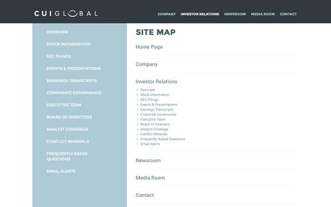 Screenshot of Site Map Page cuiglobal.com - Site Map | CUI Global - captured Oct. 14, 2016