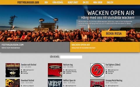 Screenshot of Home Page festivalbussen.com - Hem | Festivalbussen - captured Jan. 26, 2015