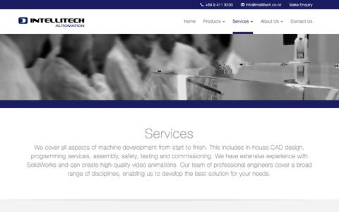 Screenshot of Services Page intellitech.co.nz - Intellitech Automation | Services - captured Feb. 11, 2016