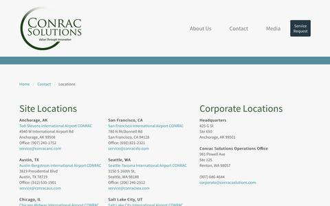 Screenshot of Locations Page conracsolutions.com - Locations - Conrac Solutions - captured May 21, 2017