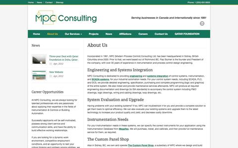 Screenshot of About Page mpcconsulting.net - MPC Consulting Ltd. – About Us - captured Oct. 4, 2014