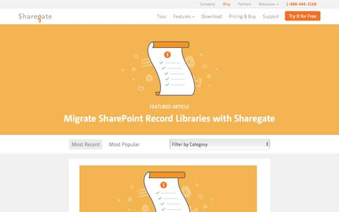 Screenshot of Blog share-gate.com - Sharegate's SharePoint & Office 365 Blog | Sharegate - captured March 29, 2016