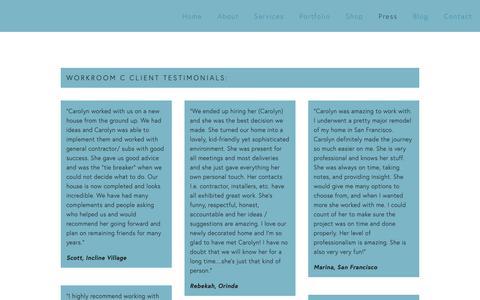 Screenshot of Testimonials Page carolynrebuffel.com - Testimonials — Work Room C - captured Sept. 27, 2018