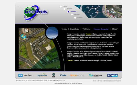 Screenshot of Products Page geoorbis.com - Products | Hexagon Geospatial | GeoOrbis Inc. - captured Sept. 27, 2018