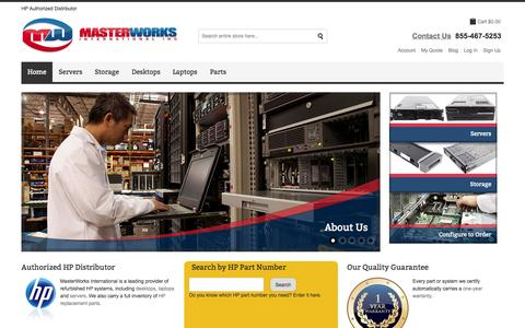 Screenshot of Home Page masterworksglobal.com - HP Authorized Distributor | Refurbished Desktops, Laptops, ProLiant Servers | HP Replacement Parts - MasterWorks International - captured Oct. 10, 2014