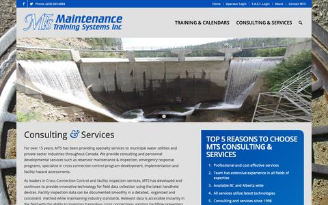 Screenshot of Services Page mtsinc.ca - Consulting & Services - MTS Inc - captured Oct. 1, 2018