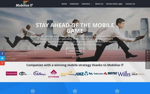 Screenshot of Home Page mobiliseit.com - Home - Mobilise IT - captured Feb. 22, 2016