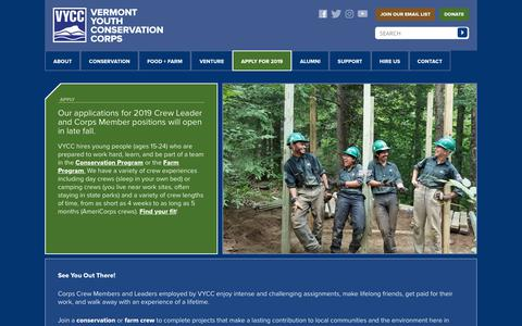 Screenshot of Signup Page vycc.org - Apply | Vermont Youth Conservation Corps - captured Oct. 20, 2018