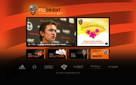 Screenshot of Home Page fclweb.fr - FCL Web - Accueil | billetterie fc lorient, lorient match, match fc lorient, location salle lorient, led publicitaire, panneau publicitaire led - captured Sept. 23, 2014