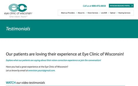 Screenshot of Testimonials Page eyeclinicwi.com - Testimonials - Eye Clinic of Wisconsin - captured Sept. 30, 2018