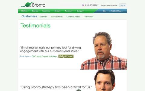 Screenshot of Testimonials Page bronto.com - Bronto Customer Testimonials | Bronto Software - captured Sept. 18, 2014