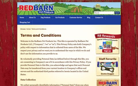 Screenshot of Privacy Page redbarninc.com - Terms and Conditions - RedBarn Pet Treats and Food - captured Oct. 26, 2014