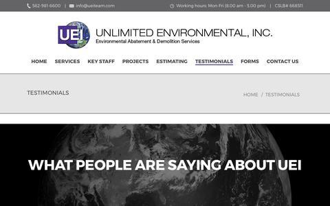 Screenshot of Testimonials Page ueiteam.com - Testimonials | UEI - captured Oct. 19, 2017