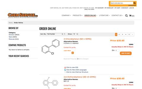Screenshot of Products Page chemservice.com - Analytical Standards from Chem Service - captured March 17, 2017