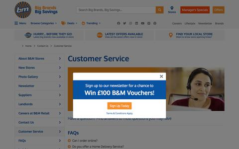 Screenshot of Support Page bmstores.co.uk - B&M Customer Service | B&M - captured Nov. 29, 2019