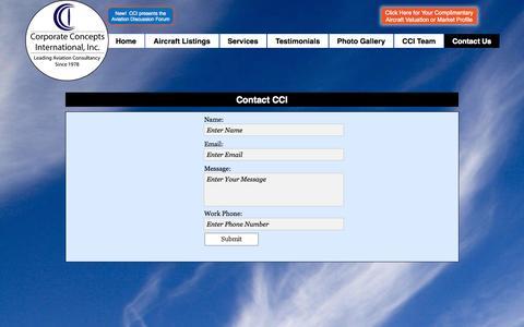 Screenshot of Contact Page flycci.com - Contact Us | Corporate Concepts International, Inc. - captured Nov. 2, 2014