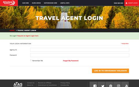 Screenshot of Login Page driveaway.com.au - Travel Agent Log in - DriveAway Holidays - captured Nov. 13, 2018