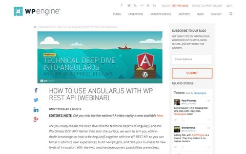 Screenshot of wpengine.com - How To Use AngularJS With WP REST API (Webinar) | WordPress Hosting by @WPEngine - captured March 29, 2016