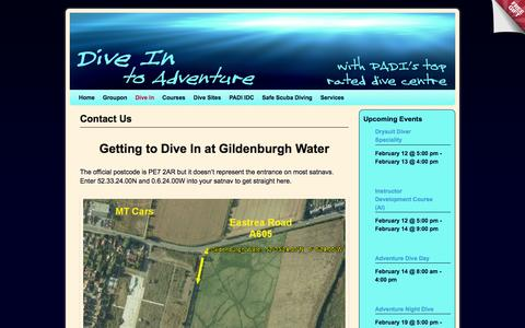 Screenshot of Contact Page divein.co.uk - Contact Us - captured Feb. 9, 2016