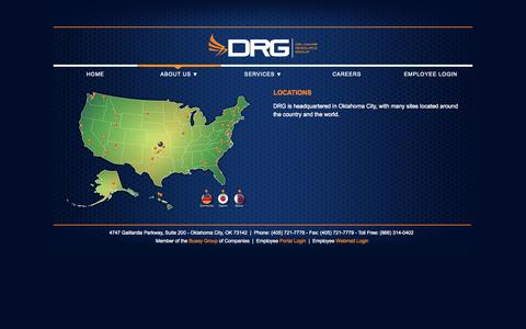 Screenshot of Locations Page drgok.com - DRG Site Locations - captured Oct. 5, 2014