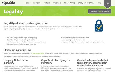 Screenshot of Terms Page signable.co.uk - Legality of electronic signatures and Signable - captured Sept. 6, 2016