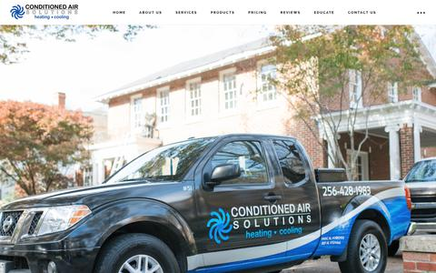 Screenshot of Home Page conditionedairsolutions.com - Conditioned Air Solutions, Heat and Air Conditioning Repair, Huntsville and Madison AL - captured July 13, 2018