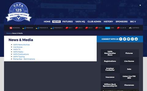 Screenshot of Press Page vafa.com.au - News & Media | VAFA - captured Oct. 21, 2017